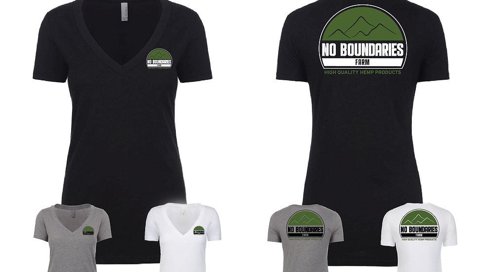 Womens v-neck shirt No Boundaries Farm logo in color variation