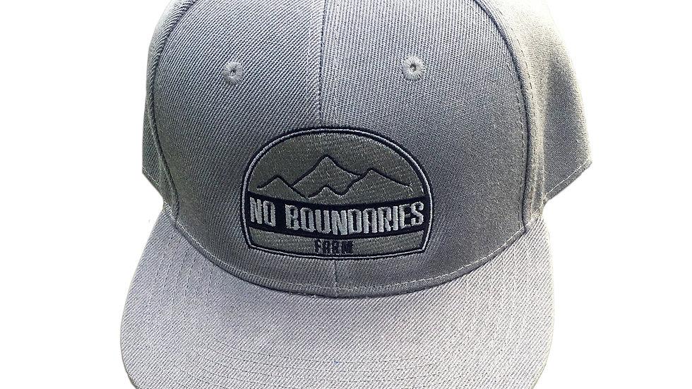 Gray snapback hat No Boundaries logo front view
