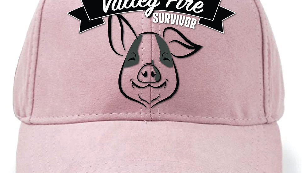 Bruce the Pig Valley Fire Hat - Pink faux suede