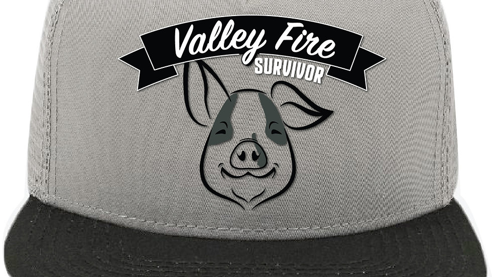 Bruce the Pig Valley Fire Trucker Hat - Gray & Black
