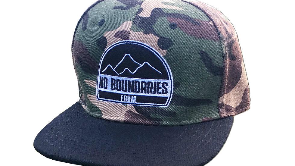 Camo with black bill snapback hat No Boundaries logo front view