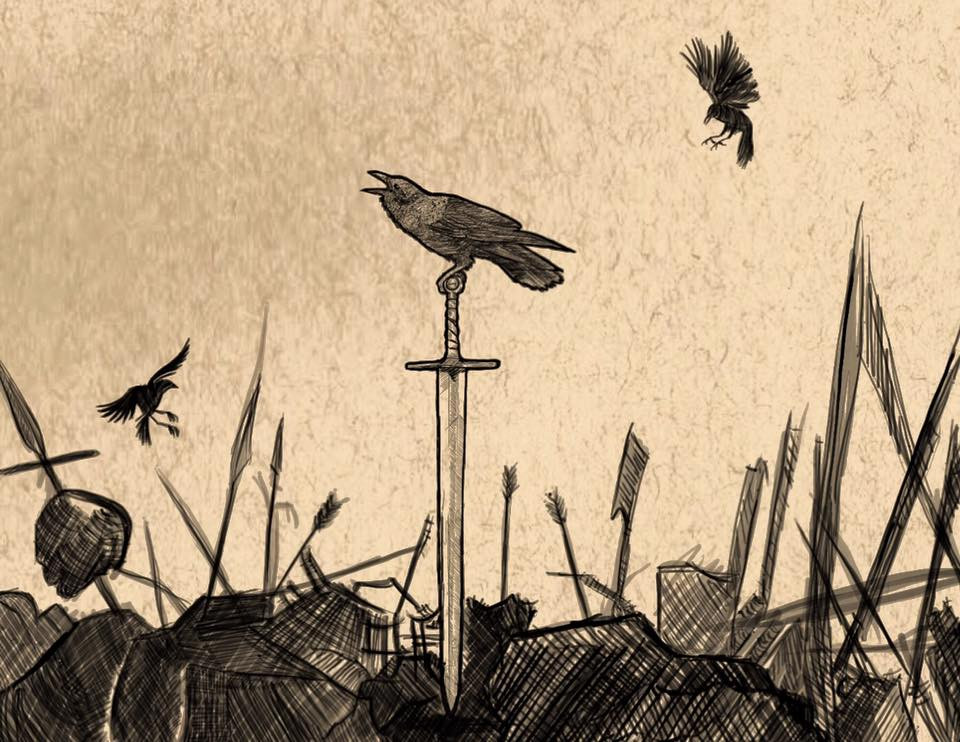 not sinished, crows on medieval/fantasy battlefield