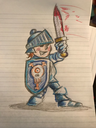 funky blue knight doodle for the kids
