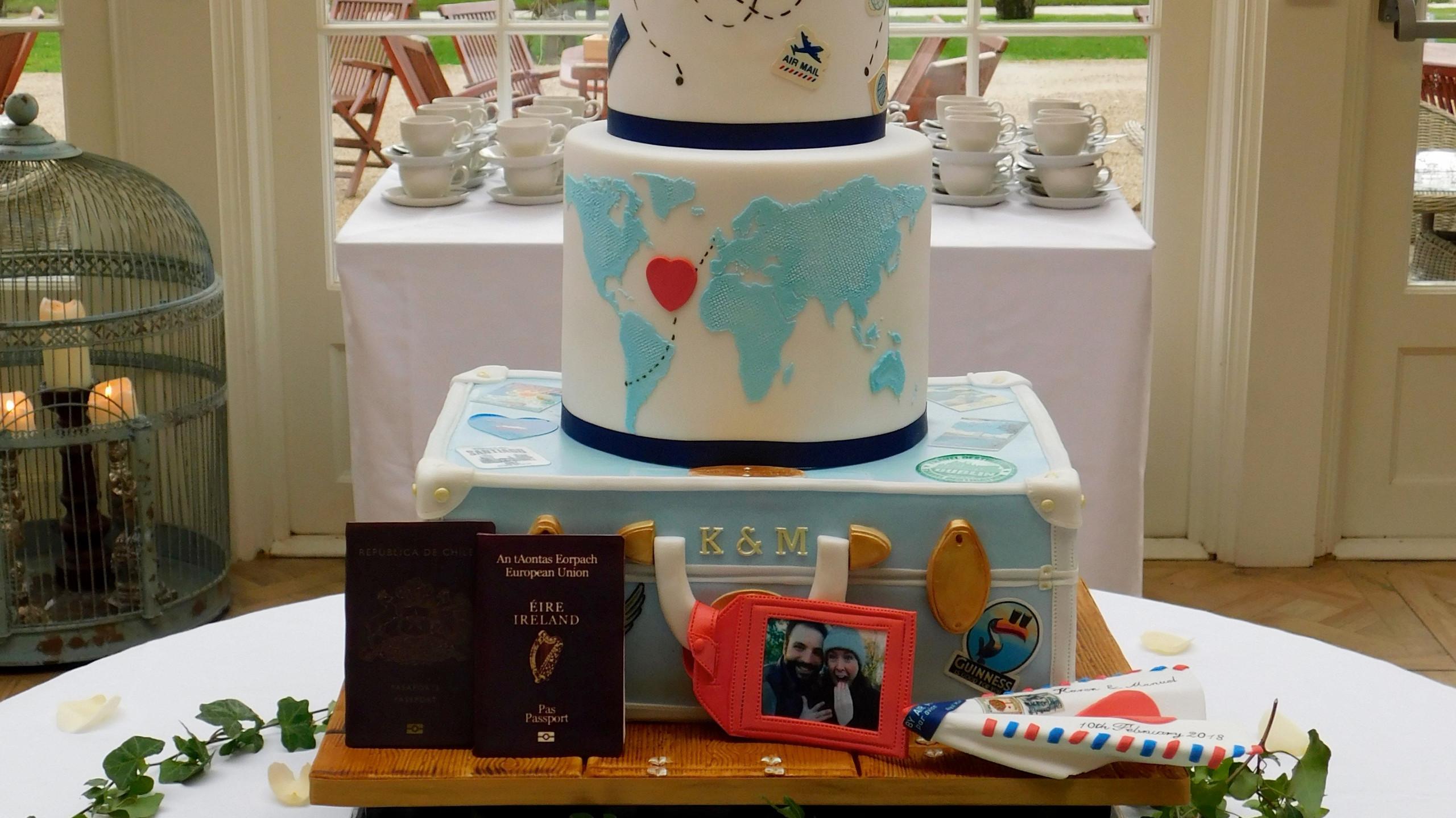 The Adventure Begins Wedding Cake