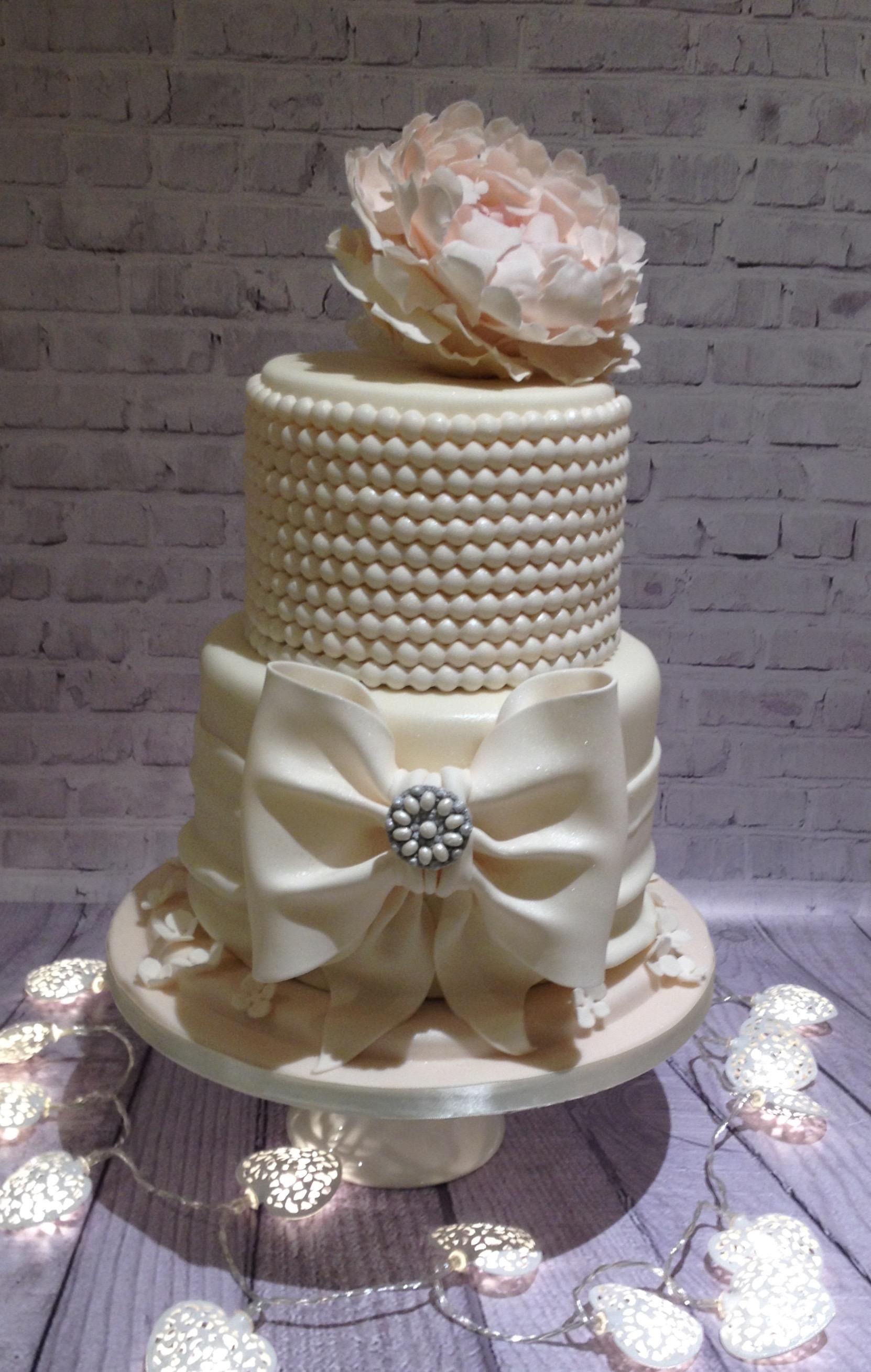 Peony & Pearls Wedding Cake