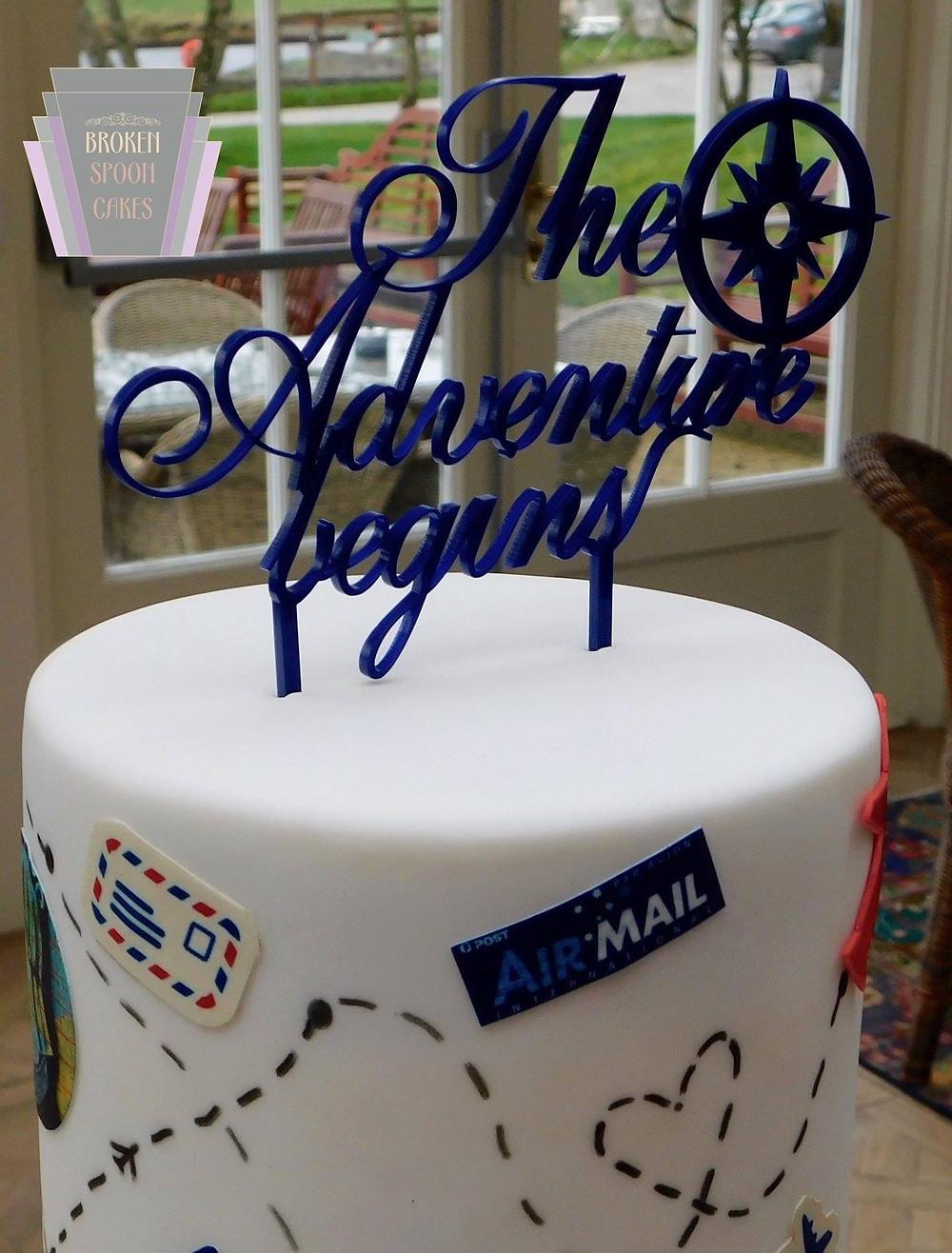 Travel Themed Wedding Cake