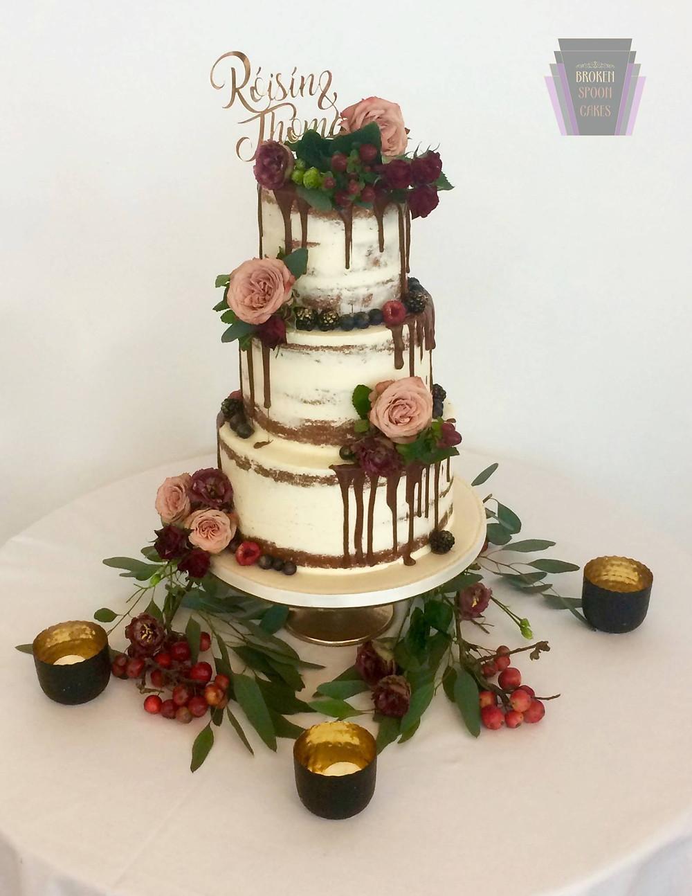 Broken Spoon Cakes | Sweet Burgundy Rose Wedding Cakes