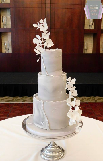 Marble & Silver Wedding Cake