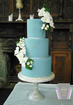 Duck Egg Blue & Textured Gold Wedding Ca