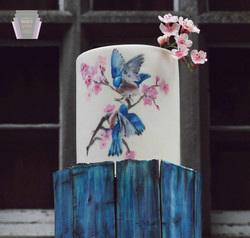 Love Birds & Blossom Cake Detail