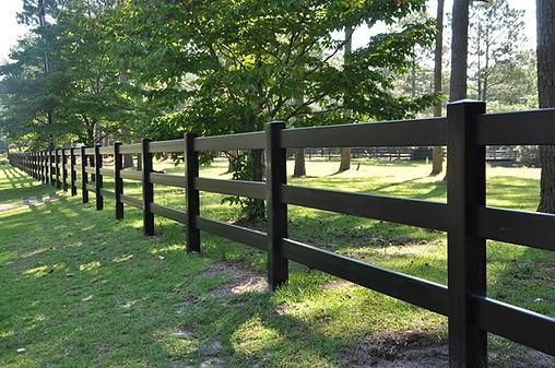 Black 3 rail pvc post and rail fence
