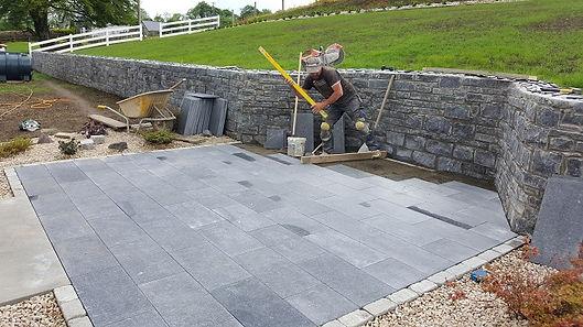 Limstone patio under construction