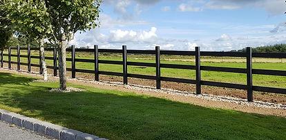 3 rail black recycled plastic fence