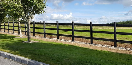 3 rail black recycled plastic fence
