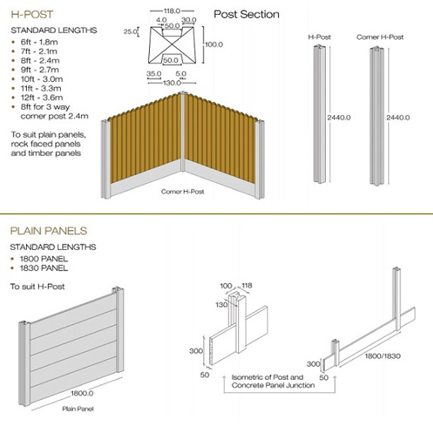 concrete h post specifications