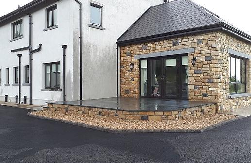 raised limestone patio area