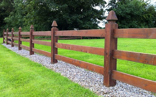 mortice timber post and rail fence