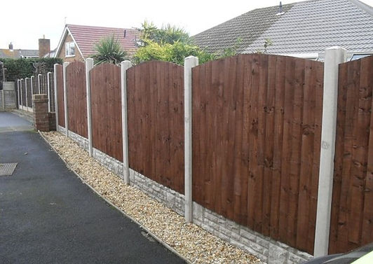 concrete post. panel fence, flannery fencing contractor