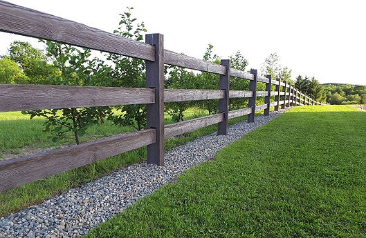 3 rail post and rail timber effect concrete fenceing