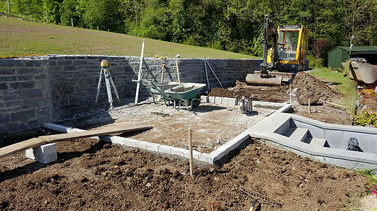 Limestone patio area under construction