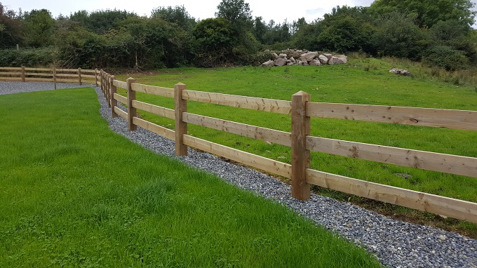 timber post and rail fenceing