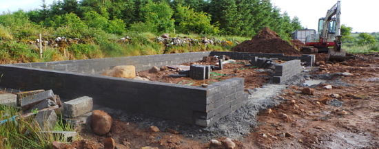 blocklaying in a foundation,