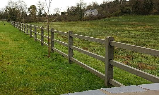 3 rail concrete post and rail fence