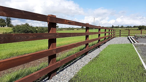 4 rail cresote timber post and rail fenc