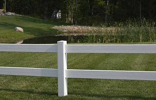 2 rail white pvc post and rail fence