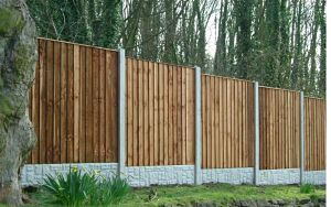 Concrete and timber Fencing, Concrete Post, Timber Panel
