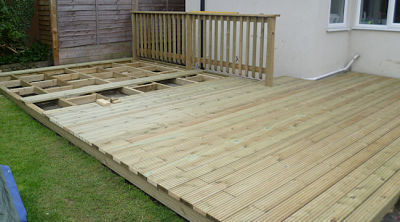 timber decking under construction