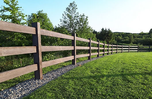 Post and rail timber effect fence