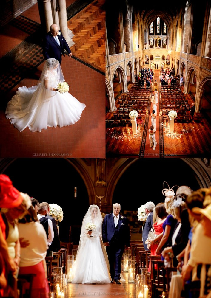 The entry of the bride in a stunning Suzanne Neville couture dress