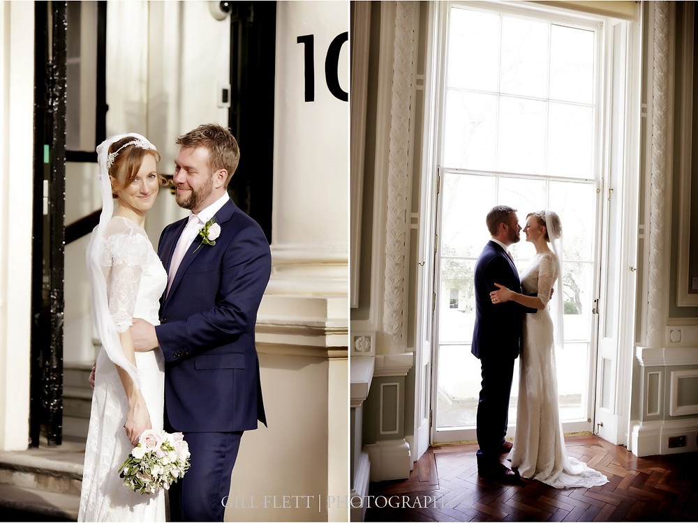 Portraits of the Bride and Groom at 10 Carlton Terrace, London.