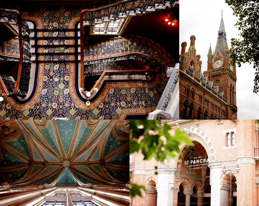 stair case and exterior of St Pancras Hotel