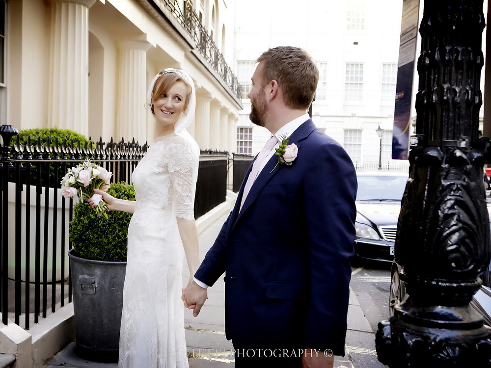 The Bride and Groom arrive at Haymarket Hotel, London.