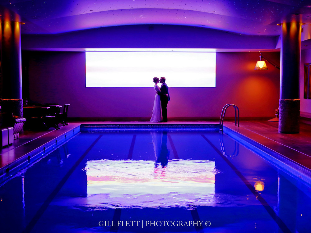 The brightly lit swimming pool at Haymarket Hotel to end the evening.