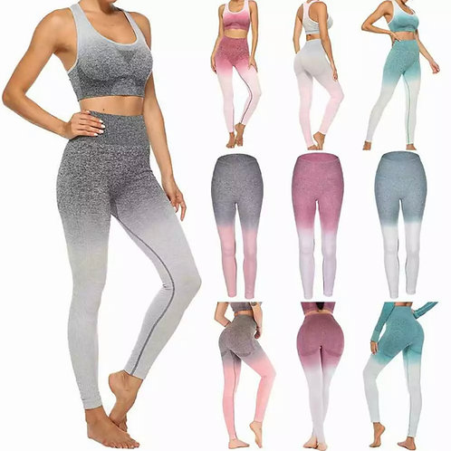 Ombre Seamless High Waisted Leggings & Sports Bra Set Pink or Turquoise