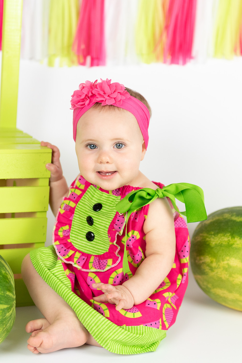 One year old watermelon cake smash session.