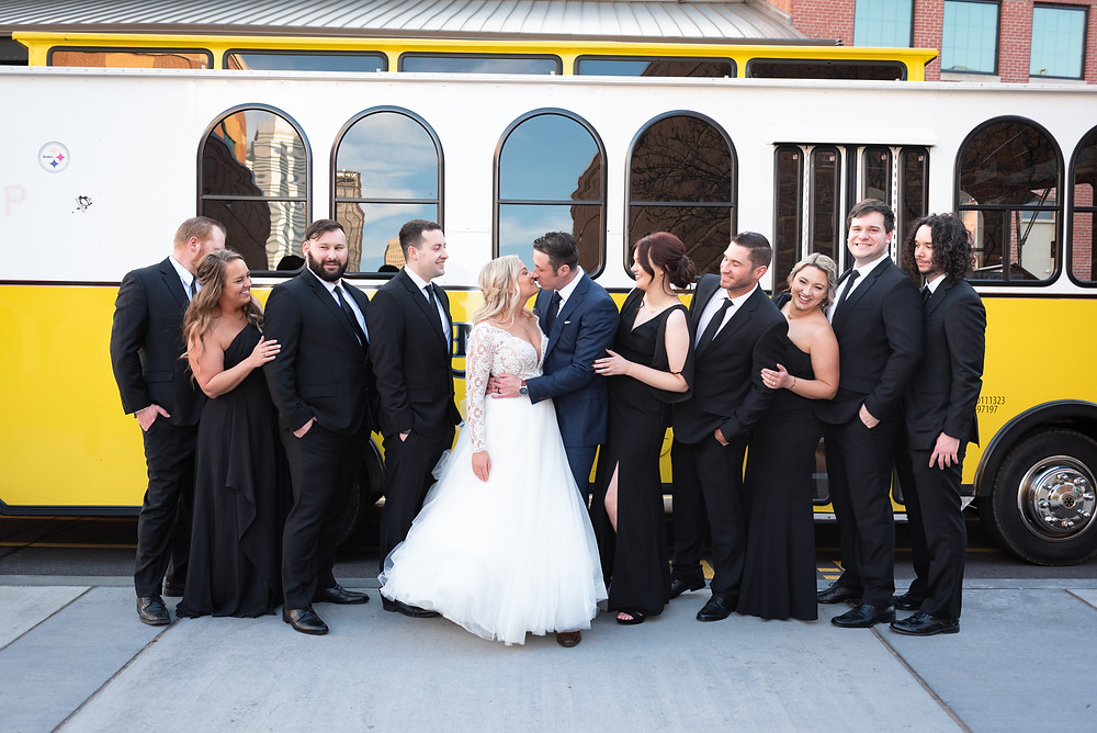 Bridal party photograph in front of the Pittsburgh Trolley