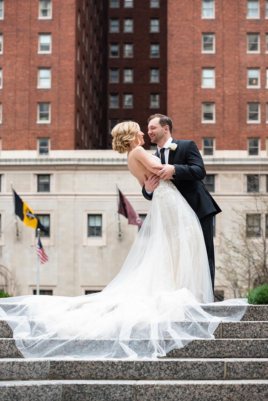 Bride and groom portraits in Mellon Square