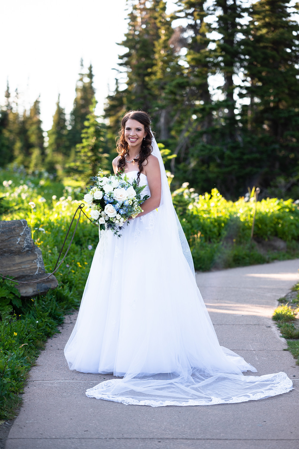 Bridal portrait in the mountains of Glacier national park