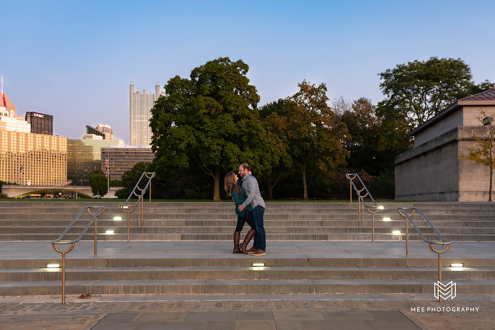 Pittsburgh engagement session at Point State Park with the city in the background