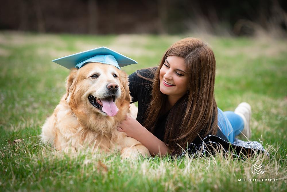 Tomlinson Run State Park high school photographs with golden retriever wearing graduation cap