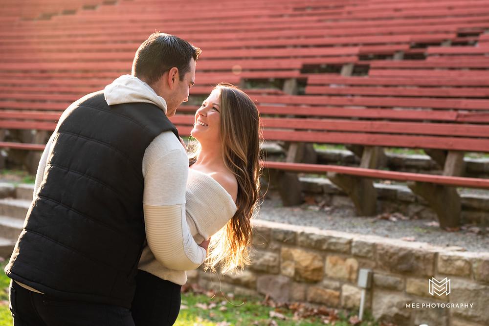 Sunset engagement photos at Oglebay in West Virginia