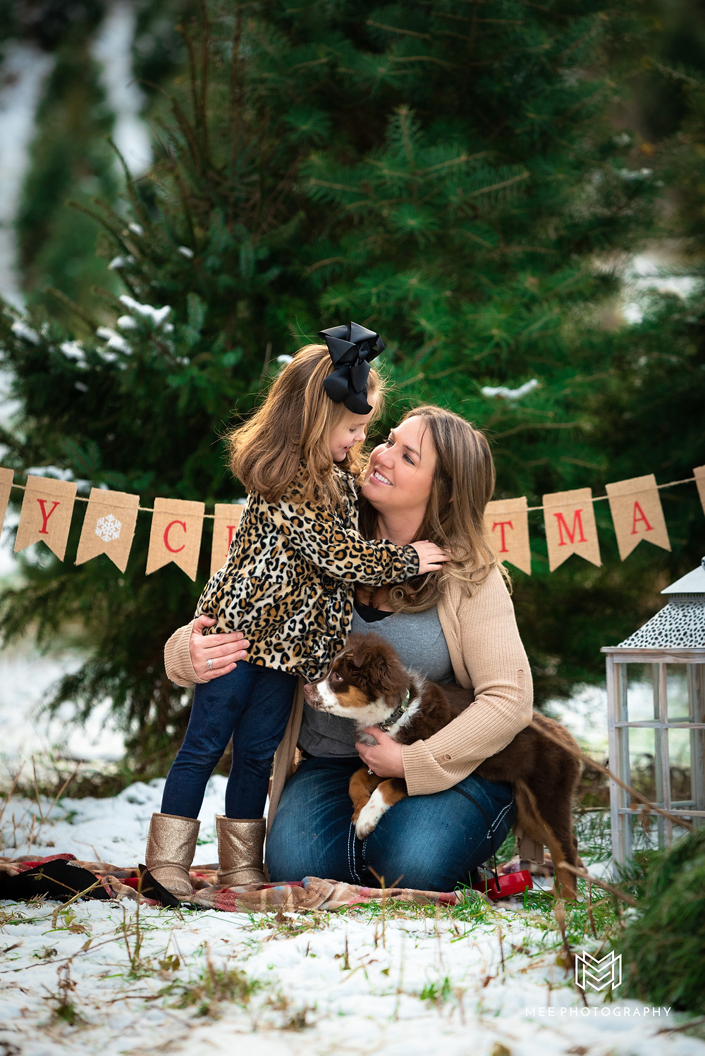 Windy Hill Tree Farms family Christmas mini photo session with a mother and daughter and their new puppy.