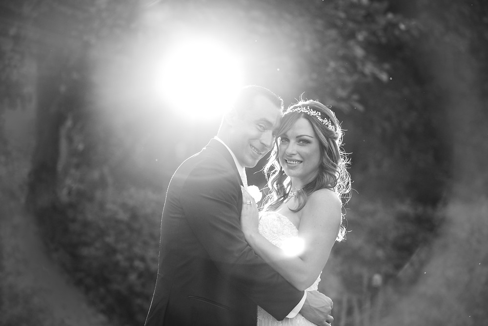 Bride and groom portrait in the garden of The Priory