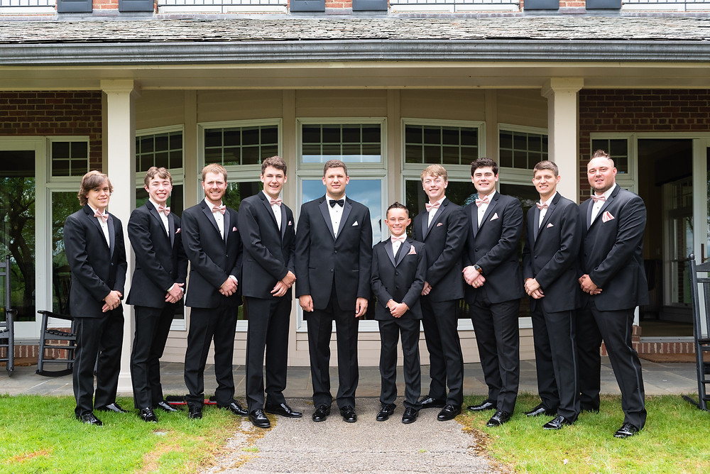 Groomsmen group photo before the ceremony in Ligonier, Pennsylvania