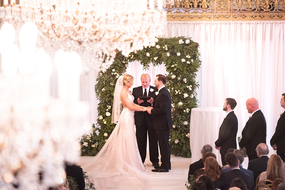 Wedding ceremony in the ballroom at the Omni William Penn hotel in Pittsburgh