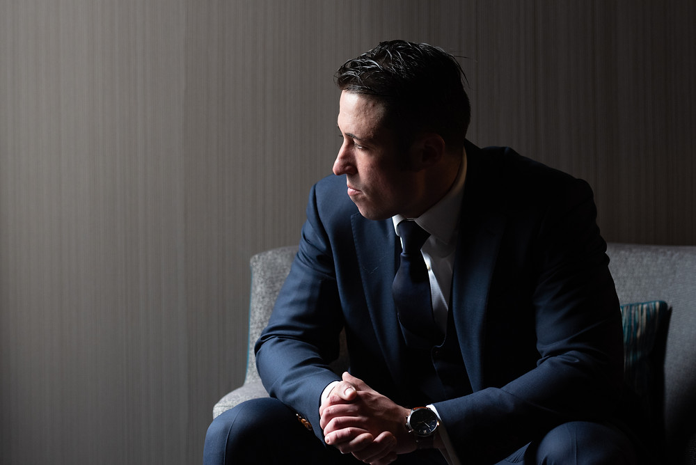 Groom portraits at Courtyard by Marriott Pittsburgh